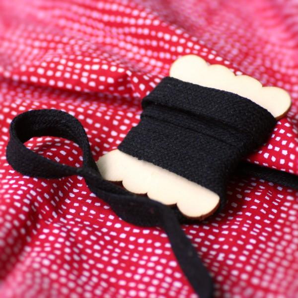 5m BREITE Flachkordel, schwarz, 2cm breit